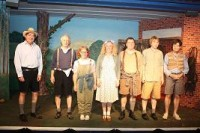 Cast, left to right: Mike Smith as Raymond, Alan Godfrey as Peter, Helen Harries as Audrey. Lesley Anderson as Angela, Daniel Wright as Willie, Paul Gardner as John, Chris Neville-Smith as Donald