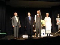 Left to right: Paul Spence as George Vantongerloo, Alan Godfrey as  Theo van Doesburg, Neil Gander as Piet Mondrian (Neil Gander), and Kathryn Gander as Saskia