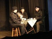Left to right: Brendan (Daniel Wright), Brian (Paul Garder) and Robert (Steve Hill) prepare for their mission