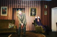 But Bill (John McKinnell) only has eyes for Dr. Sally. One night, he devises a plan to bring her to his home, only to be interrupted by his Uncle Hugo (Ian Woodhouse) playing makeshift golf.