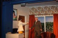 Stella (Jayne Stopford-Taylor) points a gun at Burford (Ian Woodhouse). Has she got to upper hand?