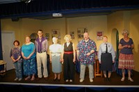 Left to right: Theresa Mulkerin as Reenee, Kayleigh Knox as Sylvie, Neil Gander as Manola, Liz Cooke as Florence, Lesley Anderson as Olive, Colin Clark as Jesus, Charlotte Bond as Mickey, Janiece Spence as Vera