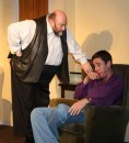 Ted (Colin H Clark) tells Jack (Michael Luke) what to expect at the clap clinic