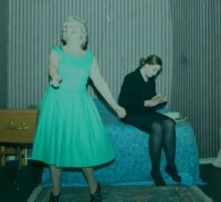 'I just want one last dance before I go.' Vi (Liz Cooke) dances whilst Mary (Jayne Stopford Taylor) reads something devastating.